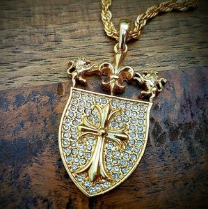 """Other - Gold Plated Cross Shield Crest 30"""" Iced Out Chain"""